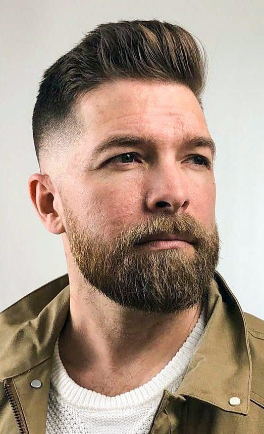 Popmpadour with Fade and Beard_