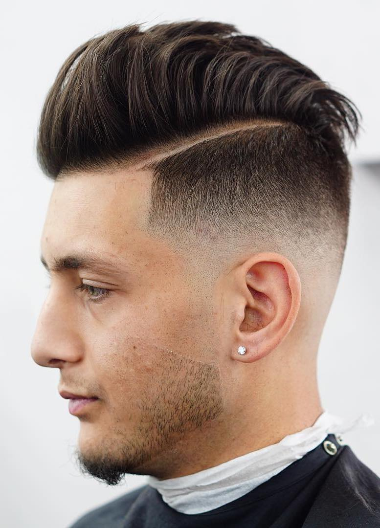 Pushed Back Quiff with Temple Fade