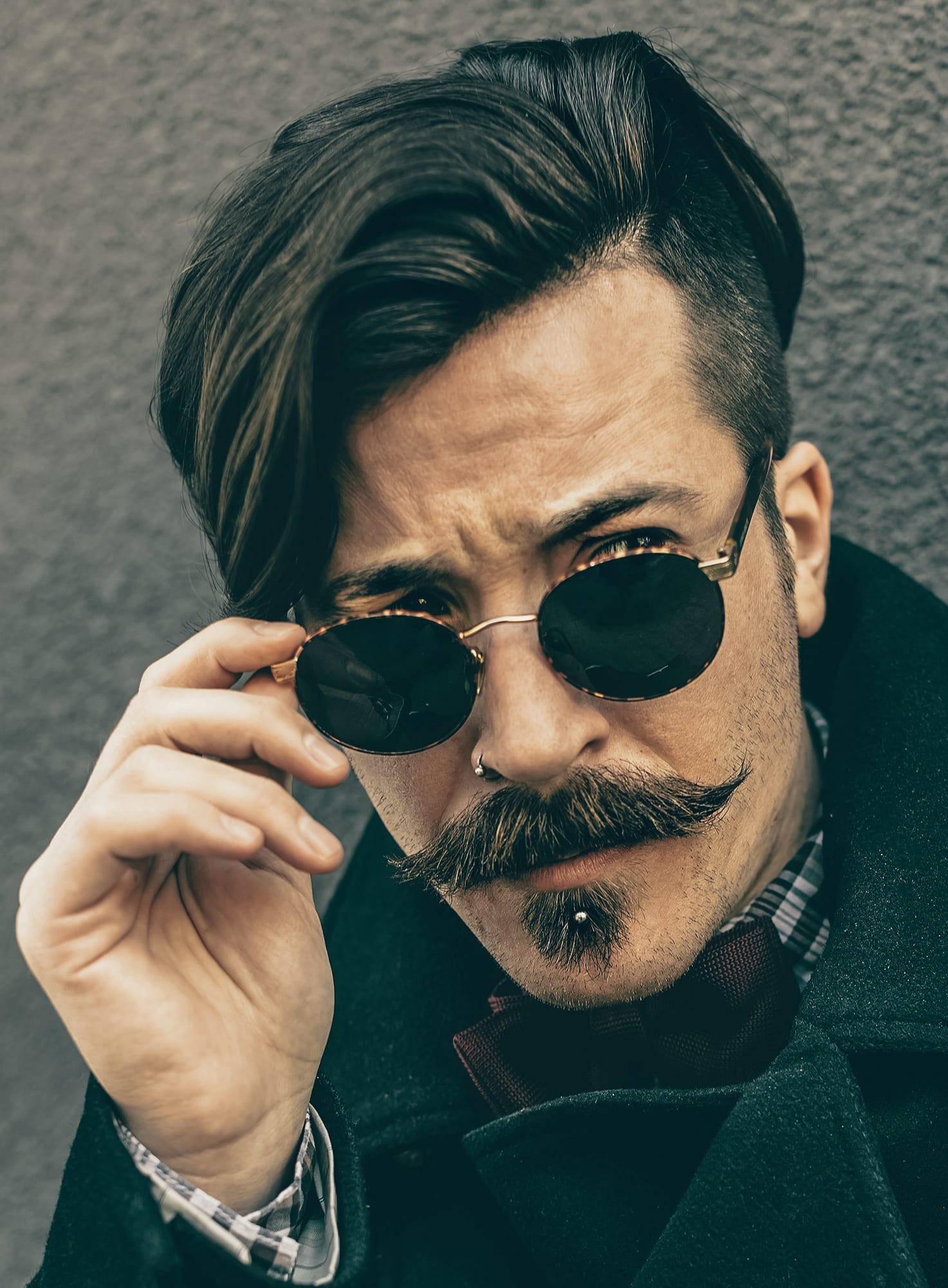Retro Mustache with Side Brushed Top