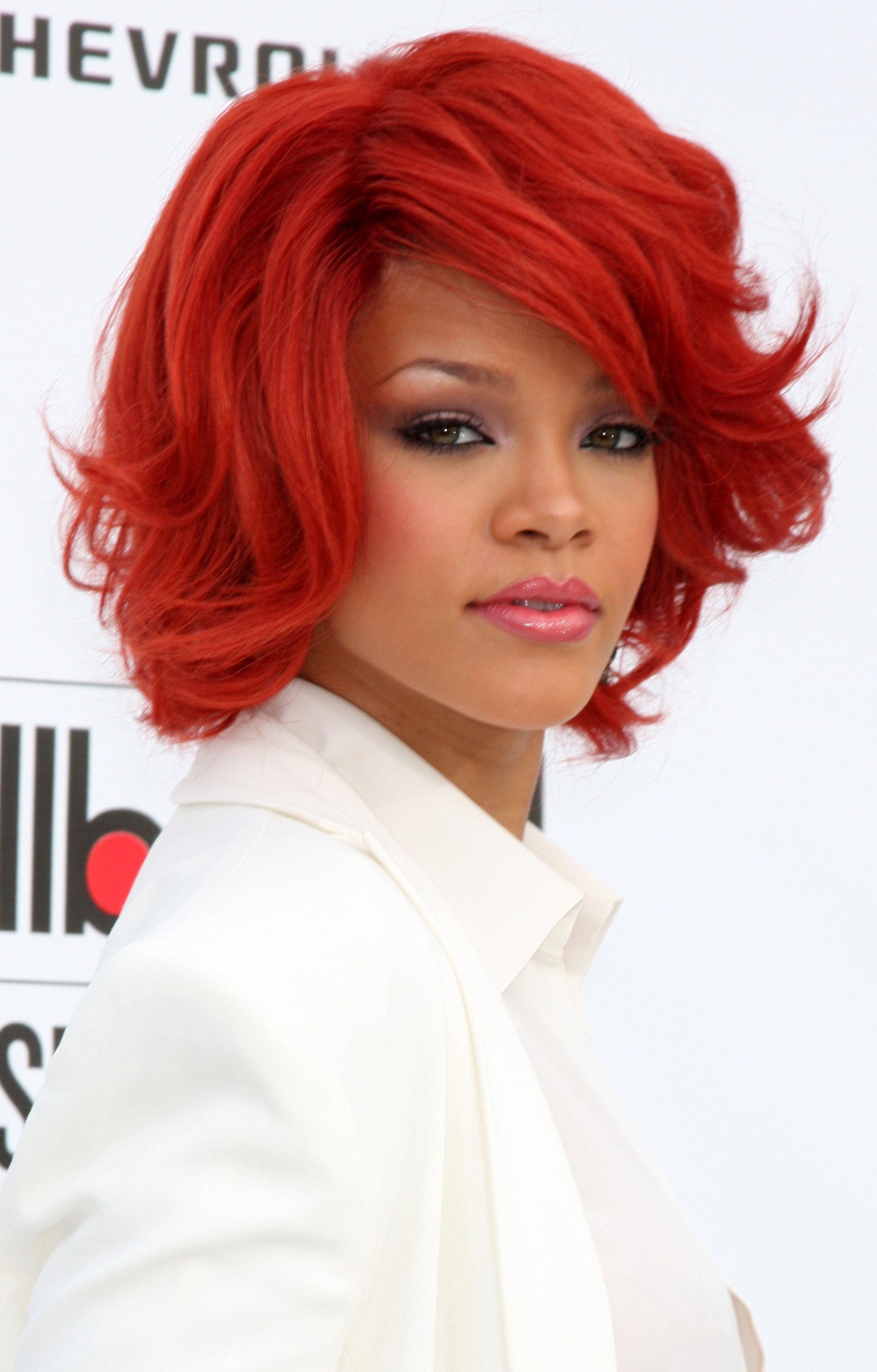 Rihanna's Red Dyed Thick Short Bob