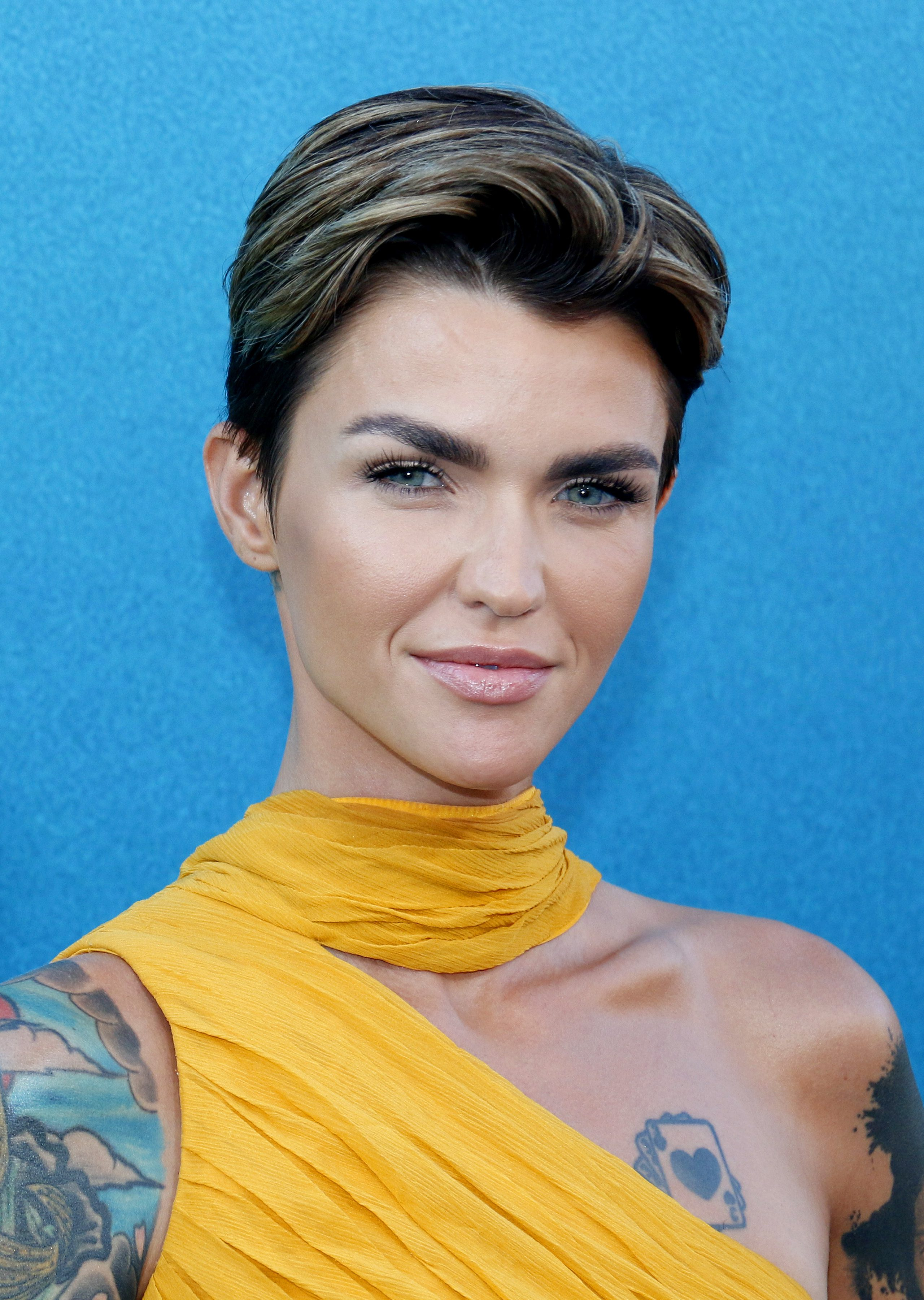 Ruby Rose's Dark Brown Hair with Silver Highlights