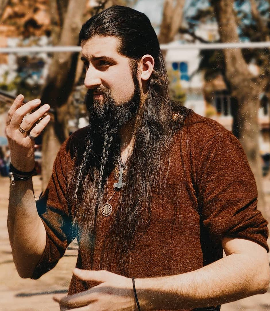 Rugged Braided Beard with Long Hair