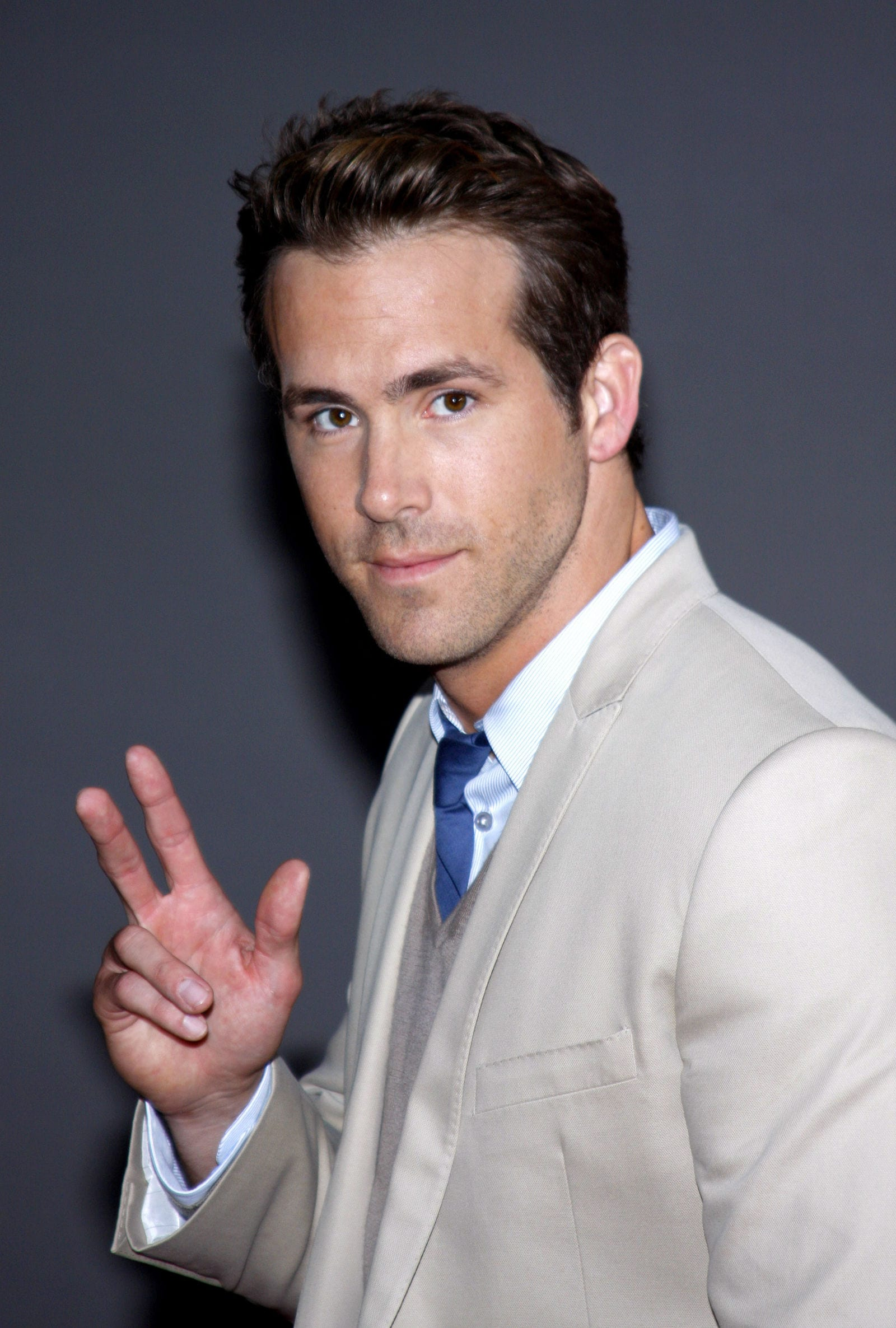 Ryan Reynolds longer-than-usual sides quiff