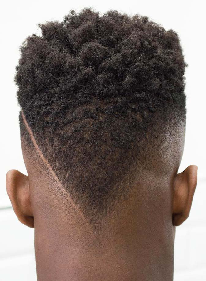 Short Afro with a Disconnected Tapered Neckline