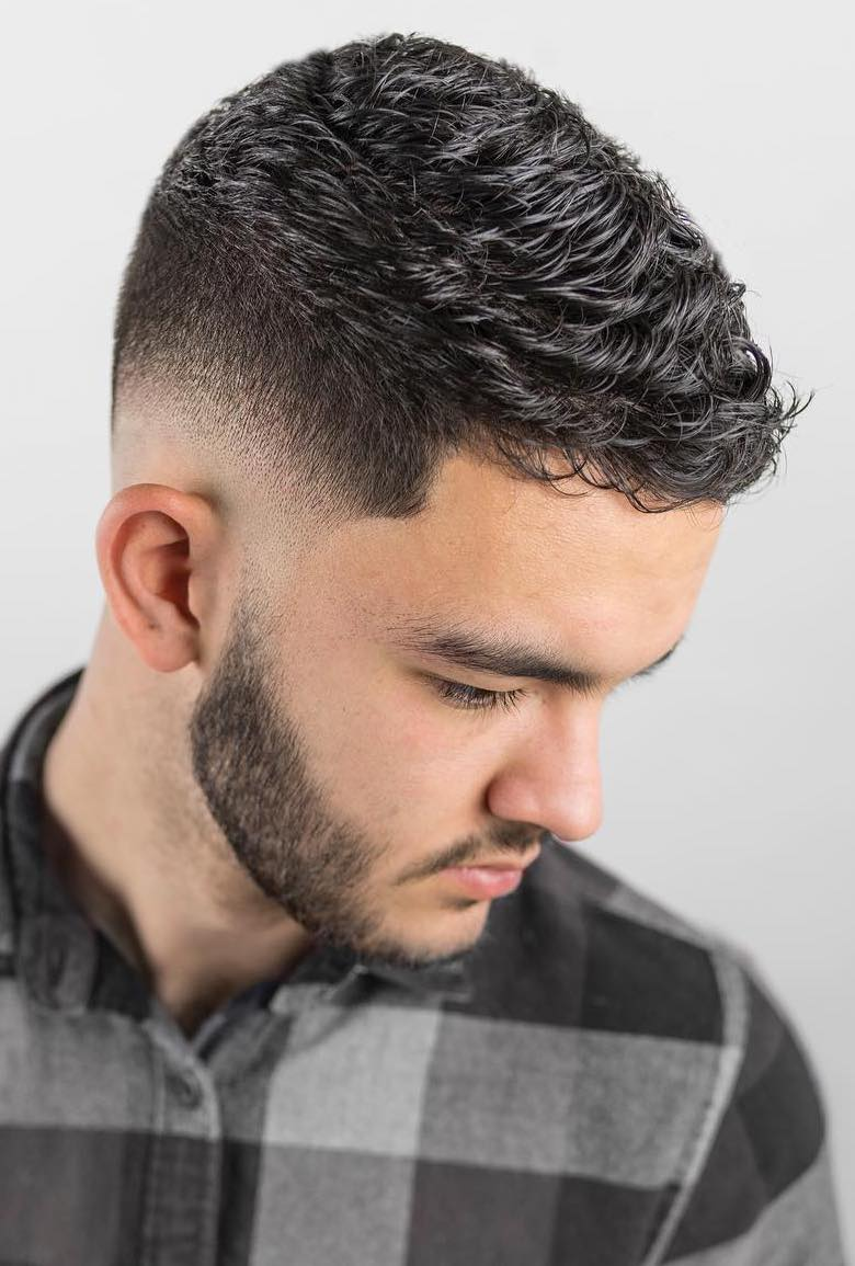 Short Wavy Top with Fine Low Fade