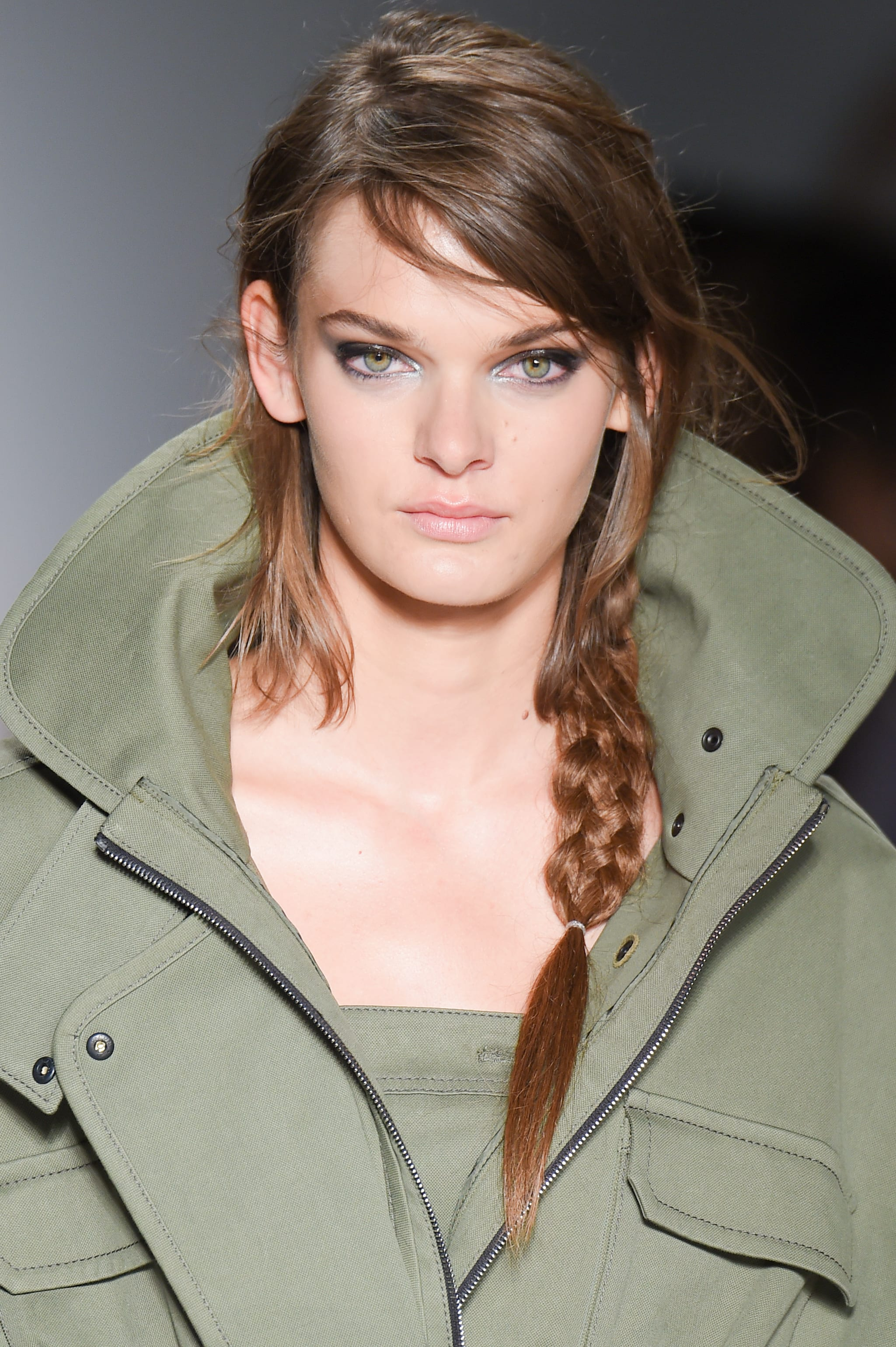 Side Braid with Side Swept Long Bangs