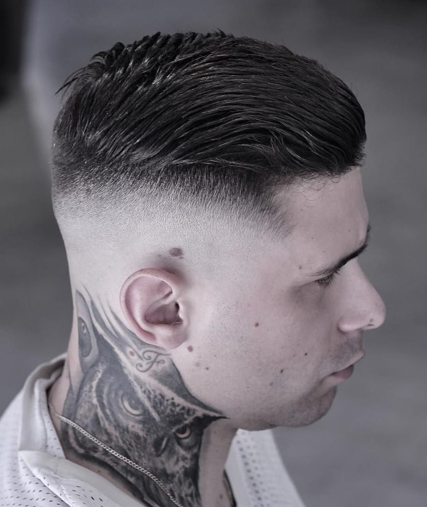 Side Brush Back and Skin Fade