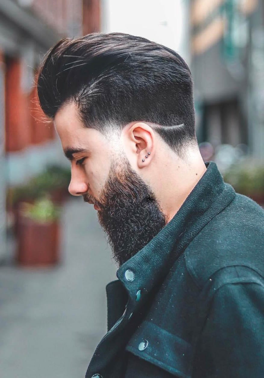 Side Hipster Beard with Disconnected Undercut_