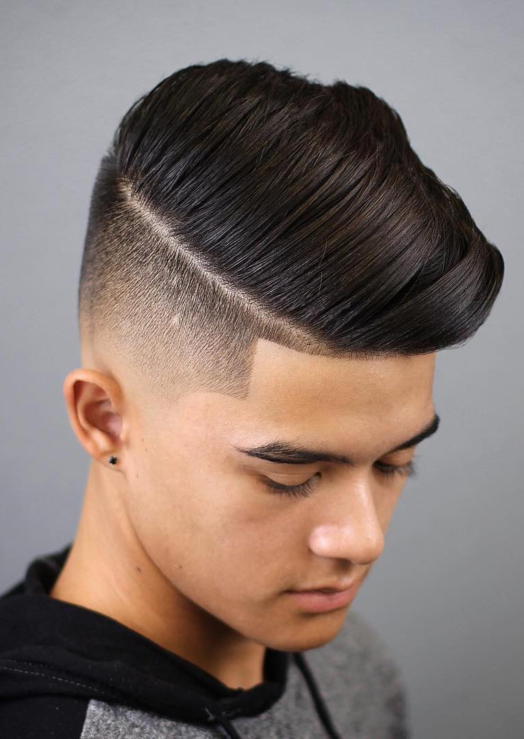 Side Swept Taper Faded Teen Haircut