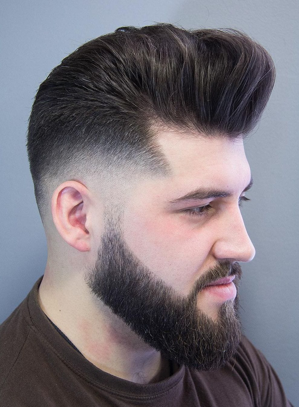 Skin Fade Pompadour with Beard