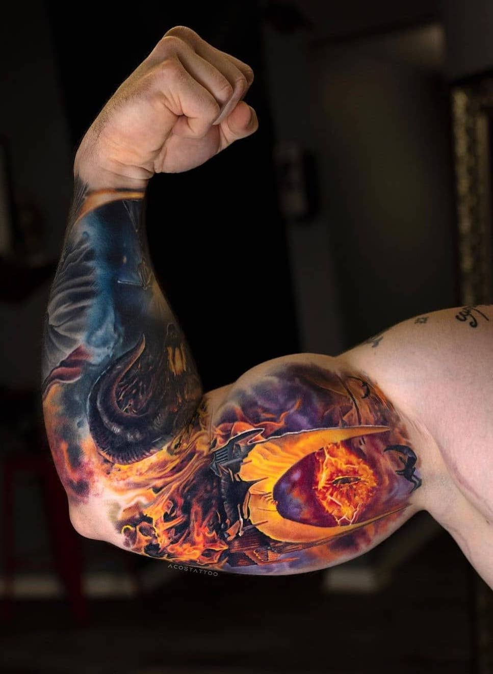 Spooky But Colorful 3D Tattoo