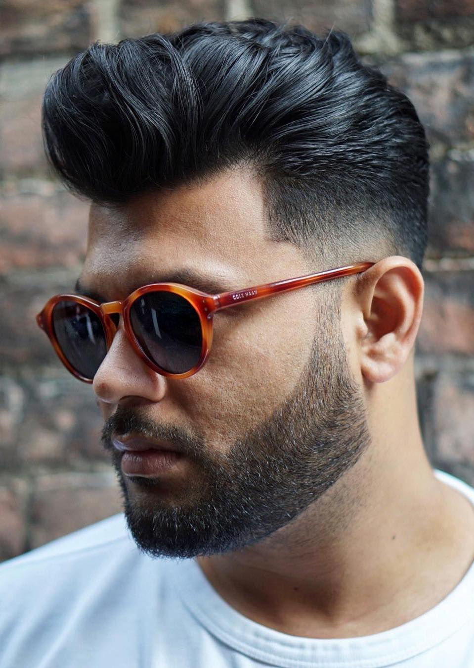 Taper Faded Pompadour with Glasses