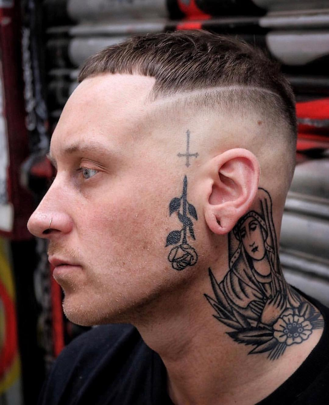 Tattooed Temple with Shaved Side Hairline