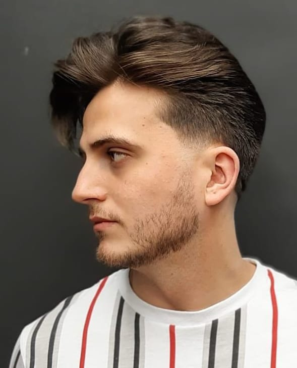 Temple Fade and Side-Swept Long Quiff