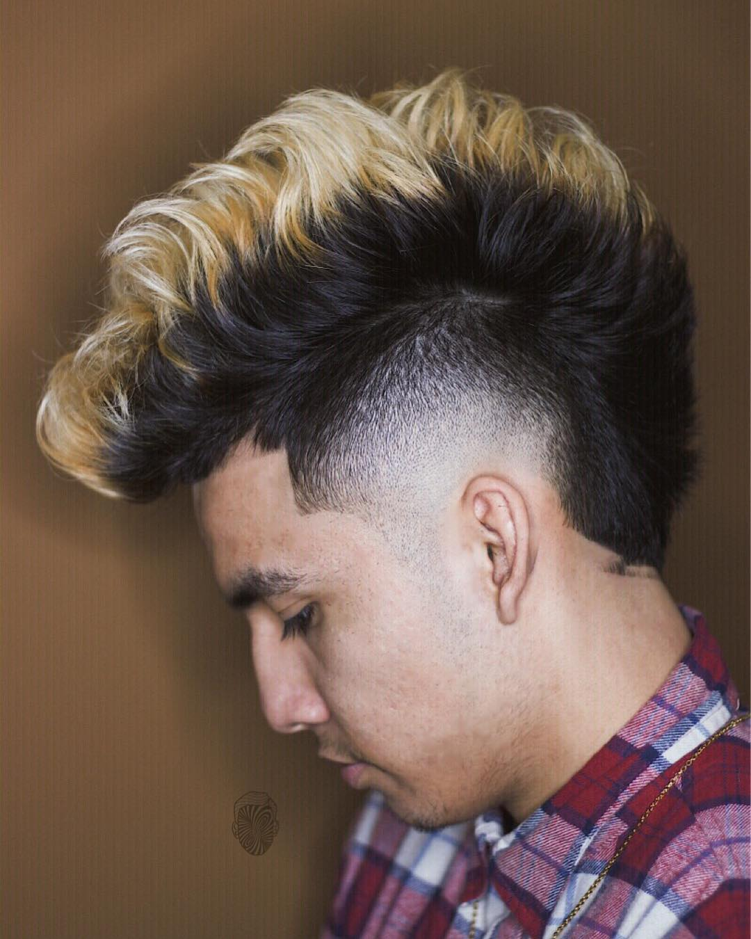 Textured Mohawk with a burst fade