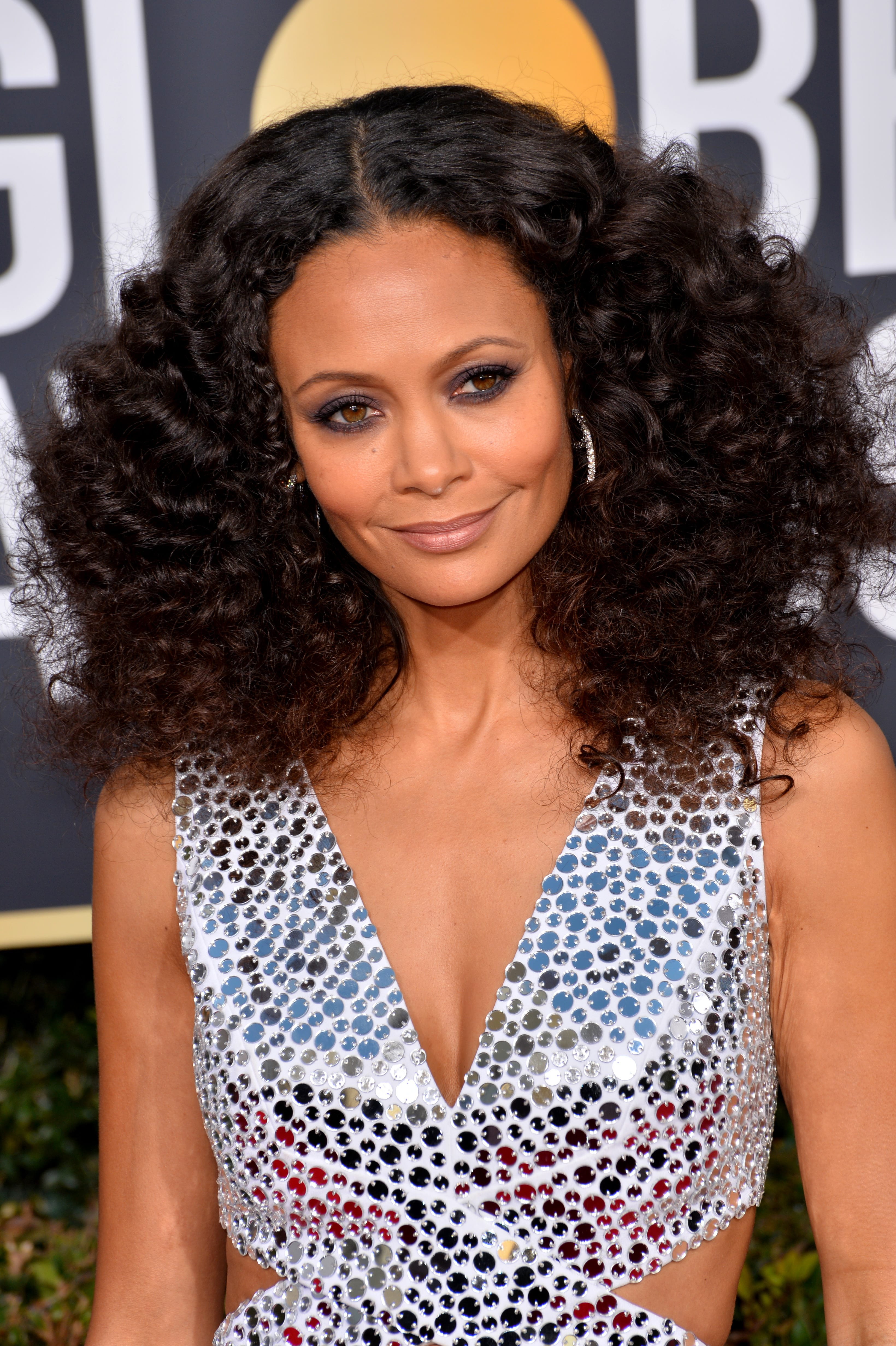 Thandie Newton's Middle-Parted Afro