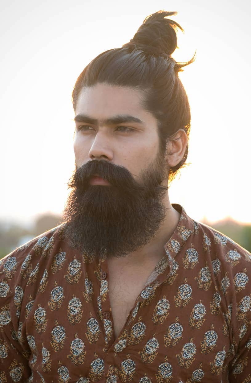 Thick Haired Dense Beard with Oiled Bun