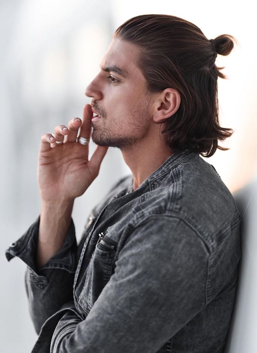 Thick Long Hair with Straight Man bun