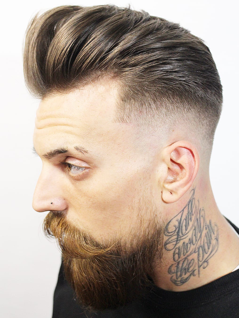 Thick Pompadoured Puff with Mid-Fade