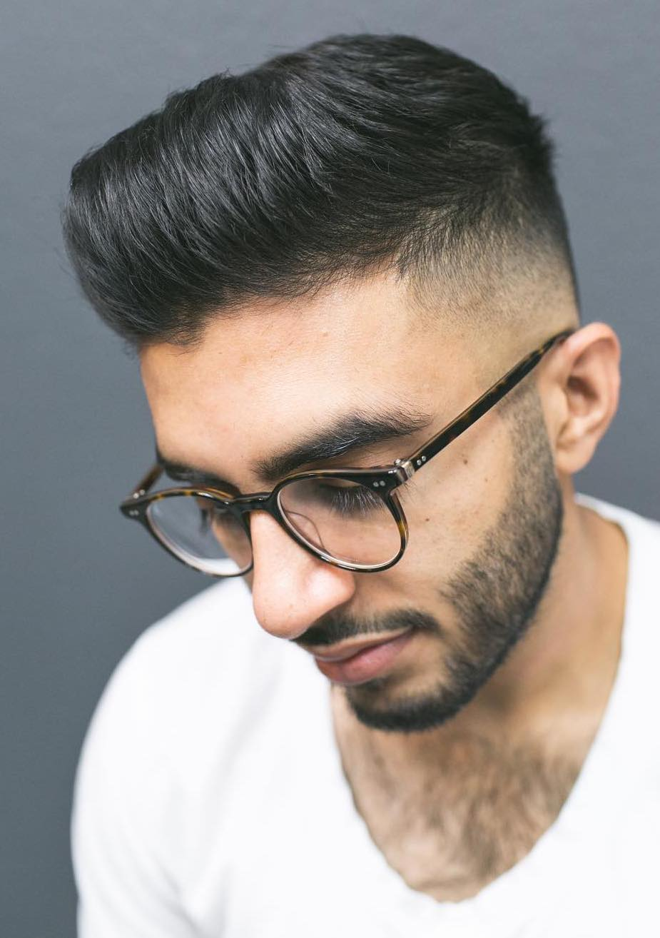 Thin Hair Fluffy Pompadour with Faded Sides