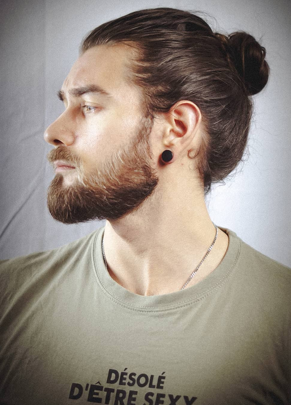 Thin Hair Oiled Man Bun