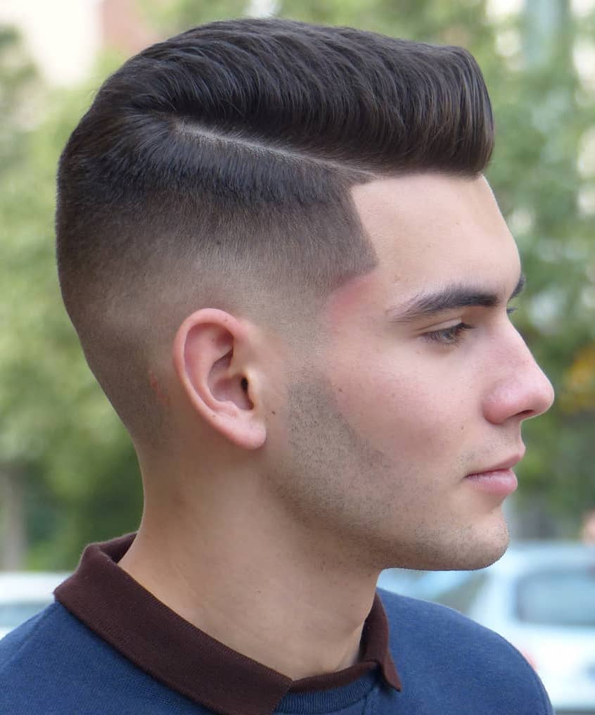 Thin Side Part with Mid Fade