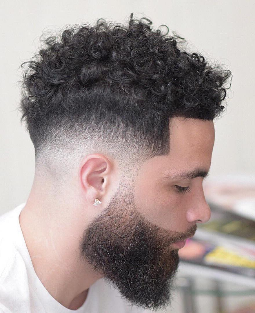 Thin Tight Curls with Mid Fade