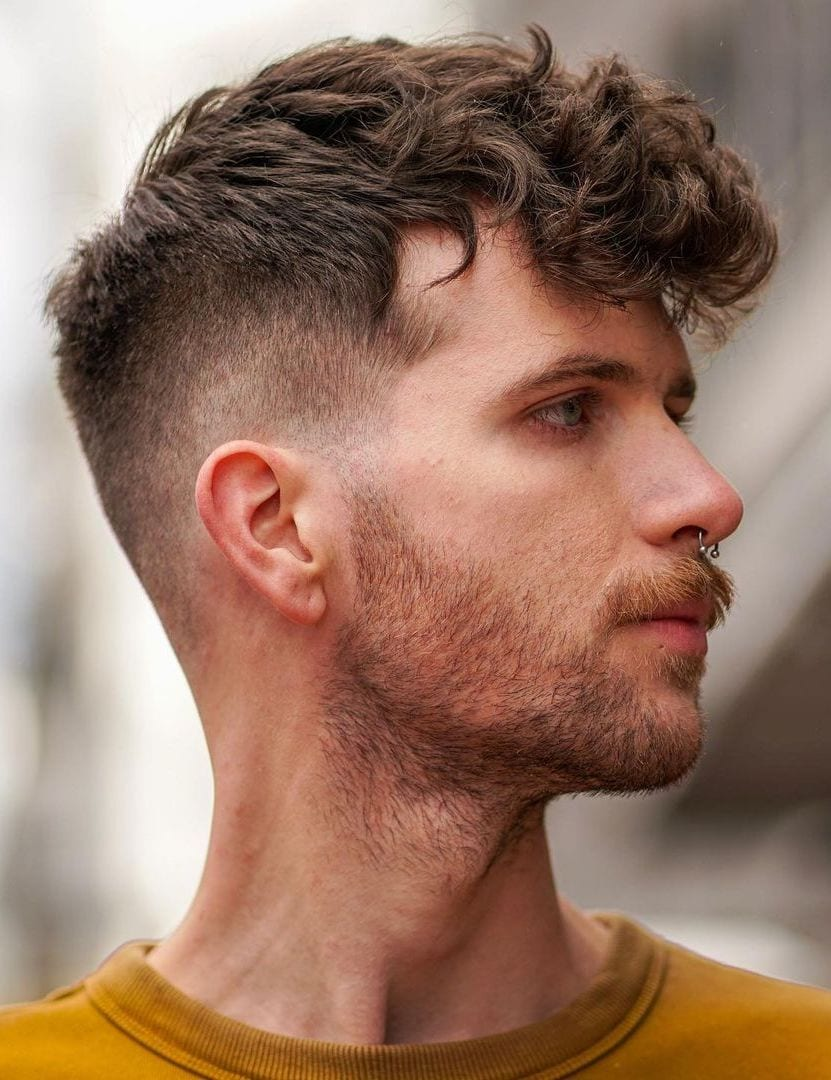 Trendy Curled Top and Mid Fade