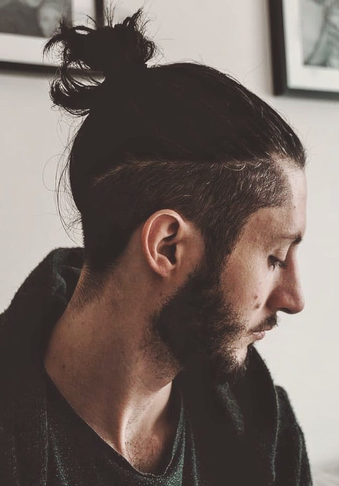 Undercut Long Hair Man Bun