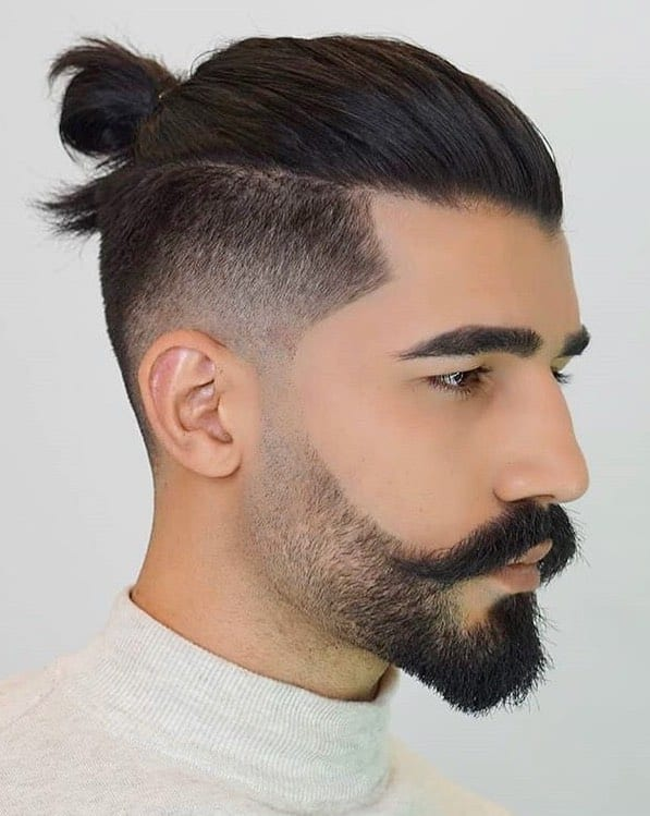 Undercut Slicked Back Man Bun