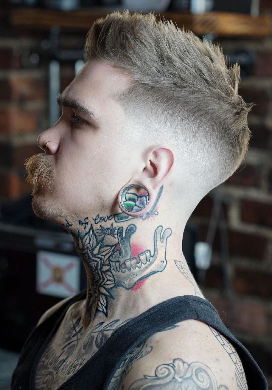 Very Hipster High Fade with Mustache