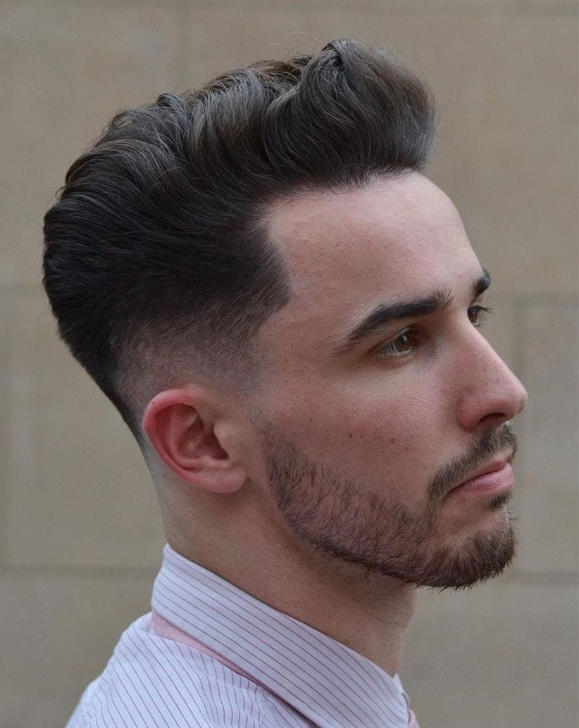 Wavy Pompadour with Drop Mid Fade