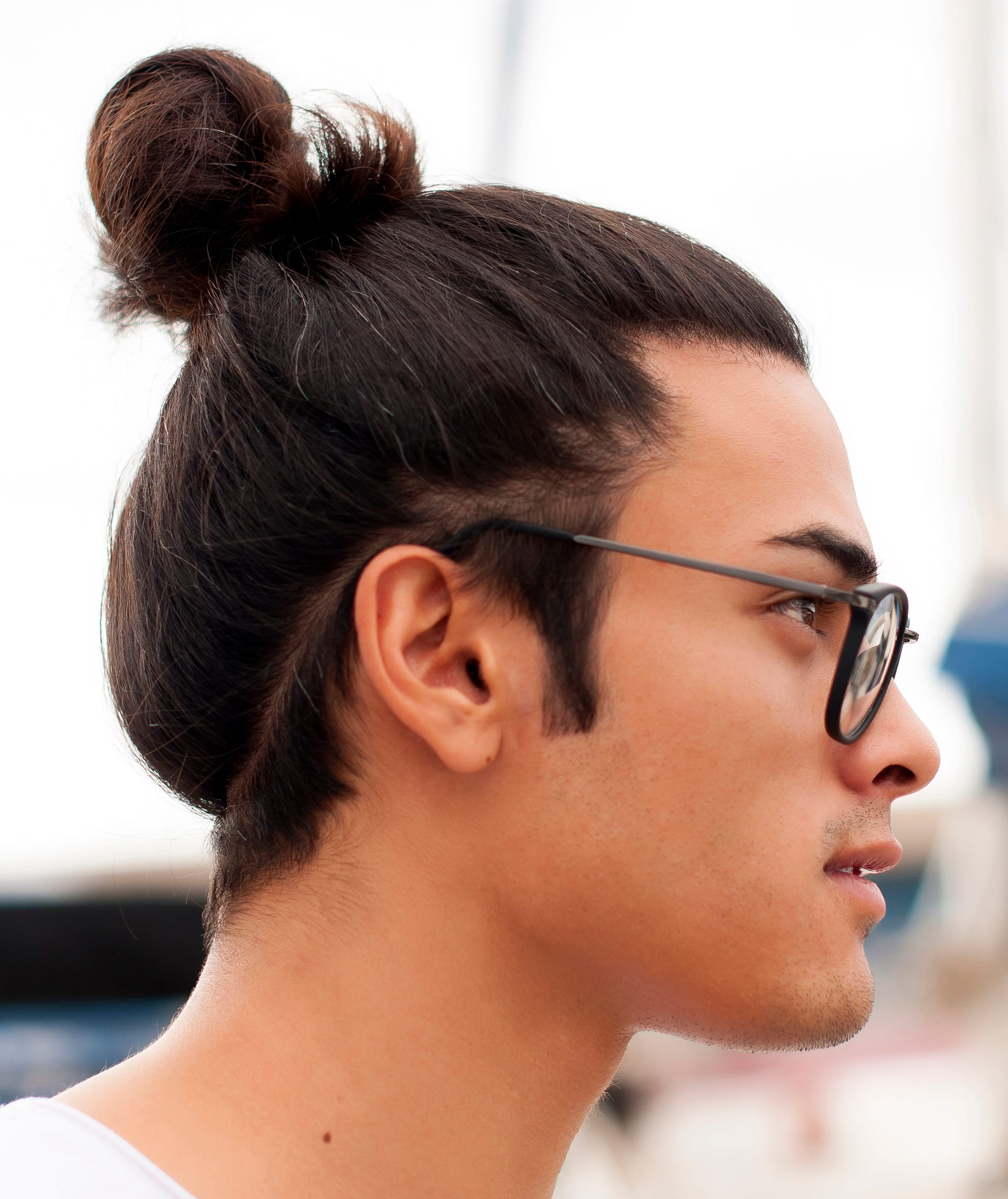 Young Man Top Knot Glasses