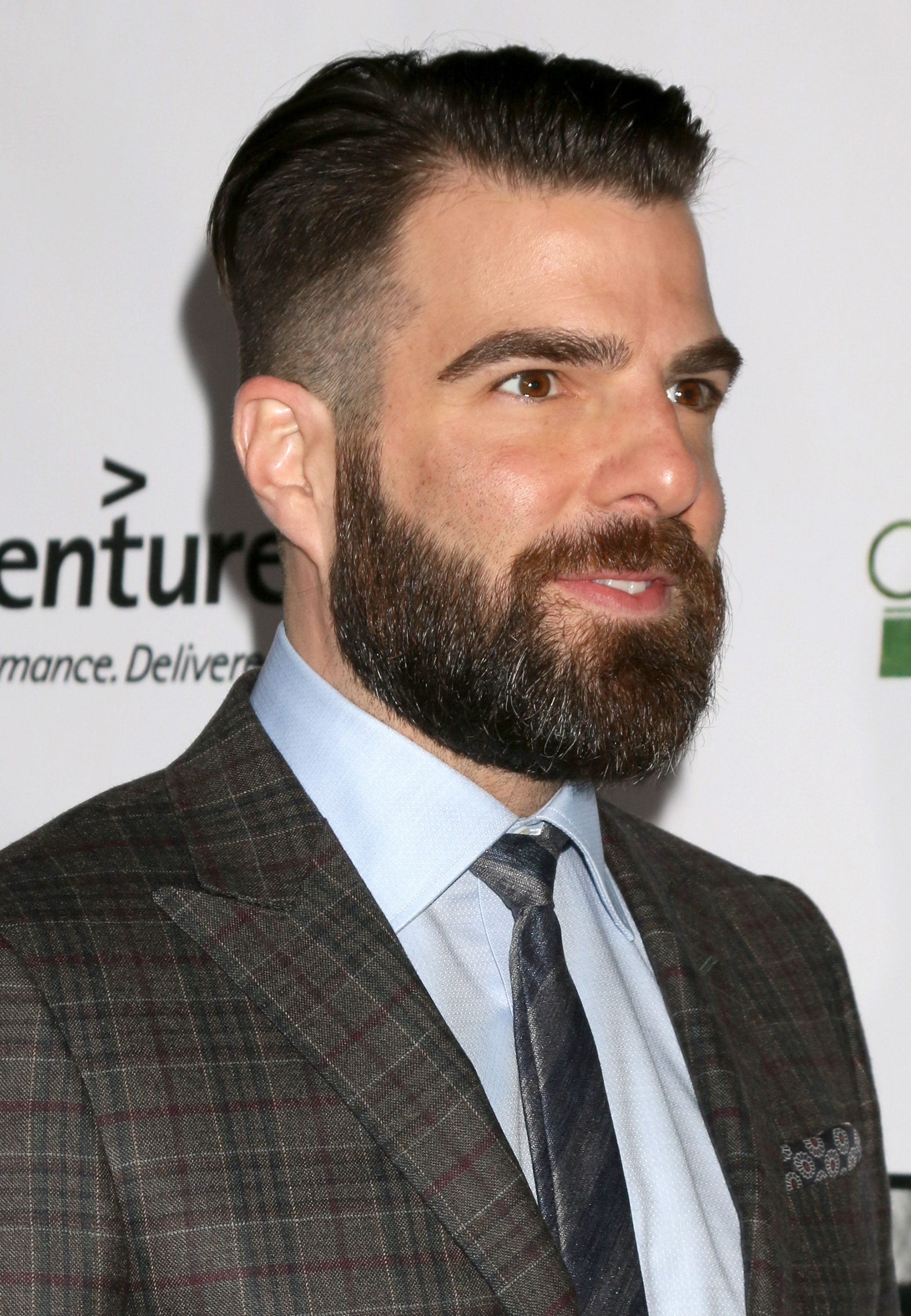 Zachary Quinto slicked back undercut beard profile