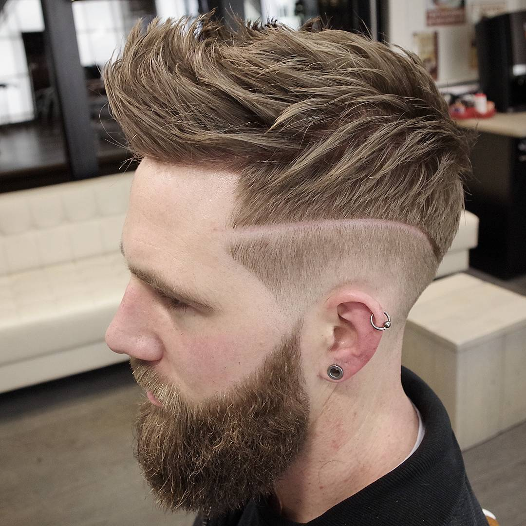 Shaved Line with Brush Up Strands
